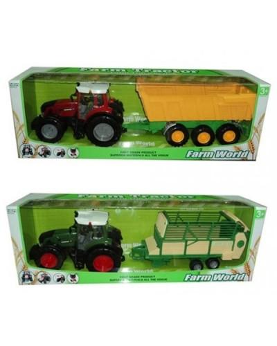 Трактор инерц. 8033-3/4 с прицепом, 2 вида в коробке 80см