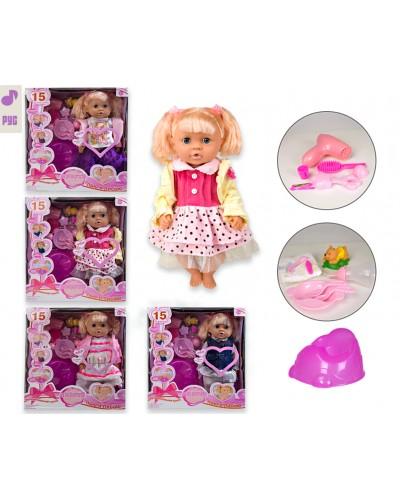 "Кукла функц. ""Анюта"" MZT9221G/A  4 вида, РУС чип, пьет/пис, горшок, бутыл, фен, расческа, аксес."