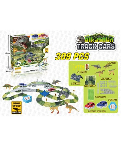 Трек D7088 Dinozaurs, с петлями, 309 дет + 2 светящ машинка + 4 динозавра + аксесс., в кор 48*11*43