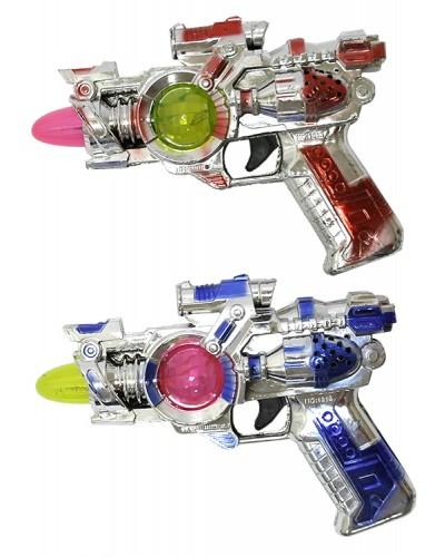 Пистолет батар 1313 2 цвета, свет, звук, в пак. 17 см