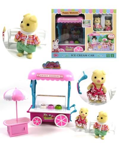 Животные флоксовые MBE18-6 мороженое-машина, свет, звук, 2 фигурки, столик, в коробке 33*25,8*11