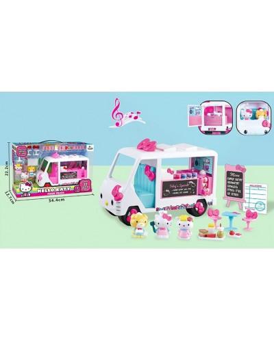Игровой набор KT684 Китти,закусоч.фургон,фигурки, аксессуары,свет,звук,в коробке 35*13*22см