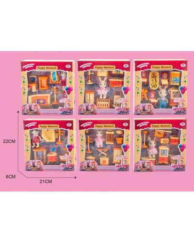Животные флоксовые MBE18-13 6 видов микс, фигурка + набор мебели, в короб.25*6*21см