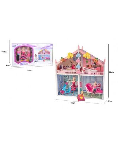 Домик 66924 2-х этажный, мебель, куклы,мопед,в кор.64*36,5*14 см