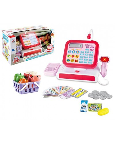 Кассовый аппарат 5963A/B 2 вида, свет/звук, калькулятор, сканер, продукты, кор. 35,2*15,2*18,3 см