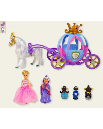 Карета 205A звук, лошадка ходит, с куклой, в коробке 43*26*20 см