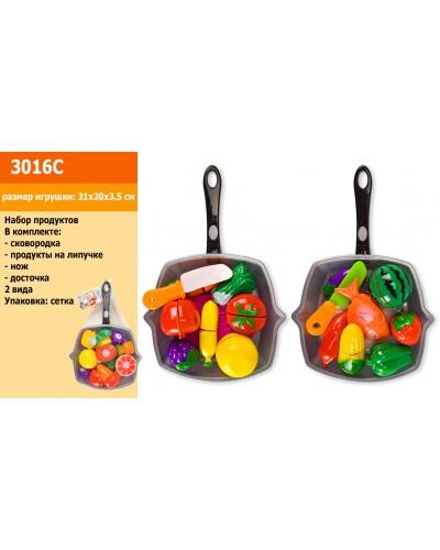 Набор продуктов 3016C 2 вида, сковородка (31*20*3,5см), овощи и фрукты на липучках, в сетке