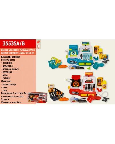 Кассовый аппарат 35535A/B  2 цвета, калькулятор, сканер, микрофон, продукты, в кор. 43,5*19*19 см