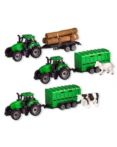 Трактор инерц. 7937ABC 3 вида, в коробке 22,5*6*8,5см