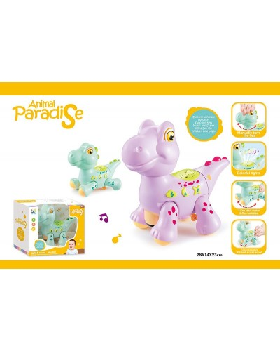 Муз. животное 8837 Динозавр, 2 цвета, свет, звук, движ., проектор, в коробке 28*14*23см
