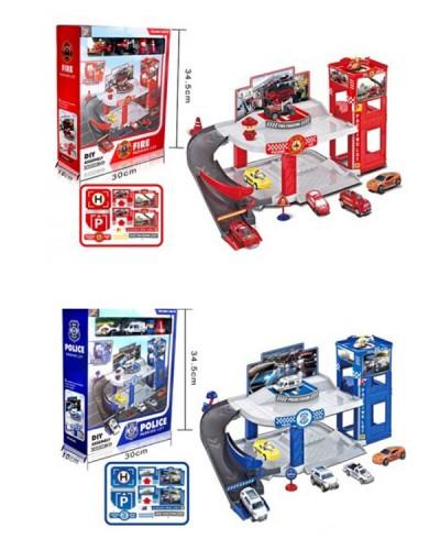 Паркинг HY124/HY125 2 вида: Полиция, Пожарная,в кор 30*34,5*10 см