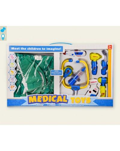 Доктор 66001A-10 халат, стетоскоп, шприц, градусник, акесес, звук, свет, в кор.55*5,5*33см