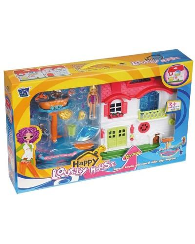 Домик 1133AB свет-звук, 2-х этаж, фигурка, аксес+набор для плавания, в кор. 50*9*32см