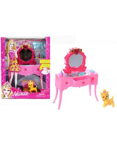 Мебель 85119 свет, трюмо с зеркалом, стульчиком, собачка, аксесс, в кор.  23*9*29см