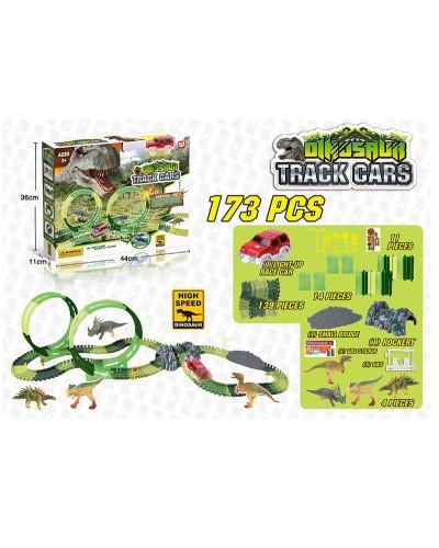 Трек D7087 Dinozaurs, с петлями, 173 дет+1 светящ машинка+4 динозавра + аксессуары, в кор 44*36*11см