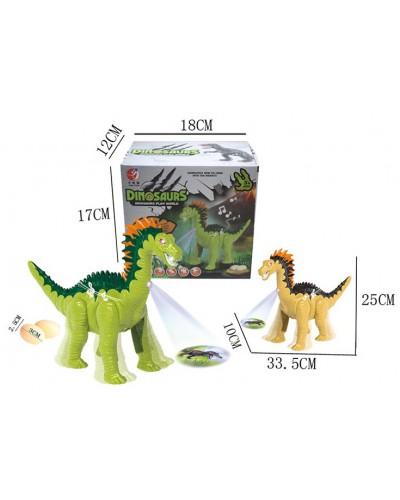 Интерактивное животное KQX-36 Динозавр, 2 цвета, батар., свет, со звуком, в коробке 17*18*12см