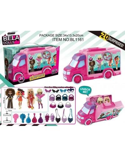 Игров. набор кукла Bella Dolls BL1161 машина д/кукол, кукла 17,5 см+сюрпризы: одежда, украш., аксес.