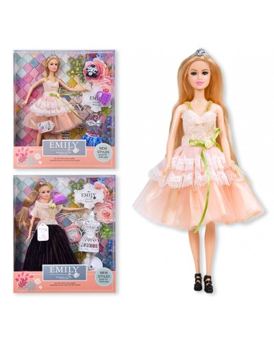 "Кукла ""Emily"" QJ077C/QJ077D 2 вида, с аксессуарами, в кор. 33*28*6см"