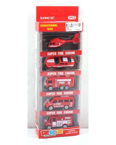 Набор транспорта 7199  Пожарный, 5 видов, в кор. 28*10,5*4см