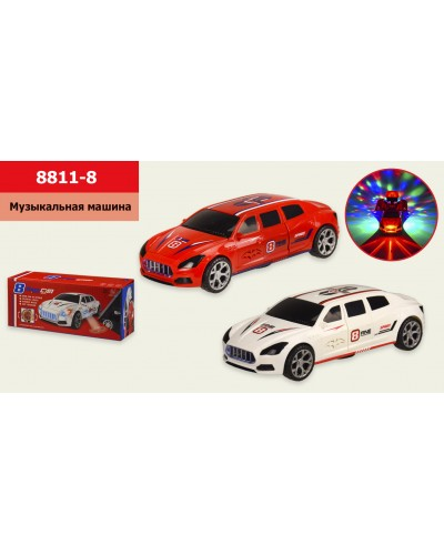 Муз.машина 8811-8  2 цвета, батар., свет, муз., р-р игрушки - 24,5*10*7см, в коробке 25*7,5*10,5см
