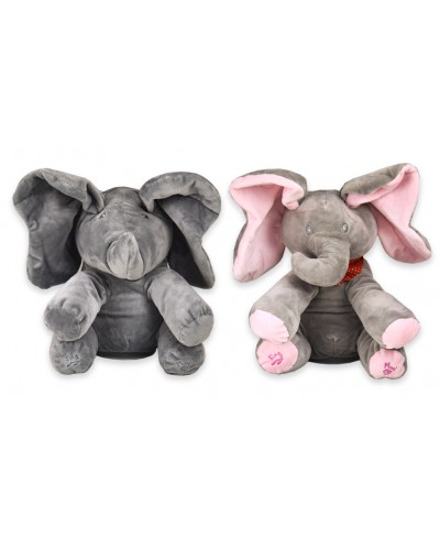 Мягкая игрушка M1691 музыкальный слон, 2 вида, поет песню, шевелит ушами,28*20*30, в пакете