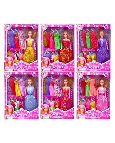 Кукла  823B  6 видов, с набором платьев, в кор. 23*5*33см
