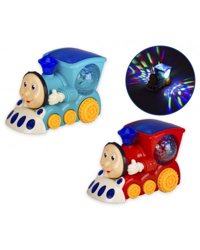 Муз.паровоз 009-10 батар., свет, звук, 2 цвета, р-р игрушки - 15,5*9*11см, в кор. 16,5*9,5*12