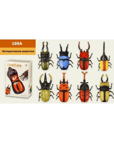 Интерактивное животное 169A Жук, свет, звук, движение, батар., 8 видов, р-р игрушки-16*6*6 см