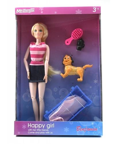 "Кукла типа ""Барби"" MZT9011 2 вида, шарнирная, с плавающей собачкой, батар., в кор."