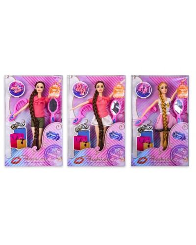Кукла  PE154A 3 вида, расческа, зеркальце, обувь, р-р куклы - 29см, в кор.20*5,5*32 см