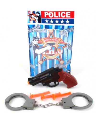 Полицейский набор 30-8 (1643203) пистолет, присоски, наручники, в пакете 22*15,5*2,5 см