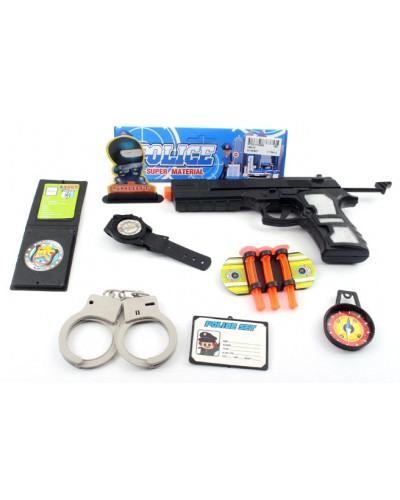 Полицейский набор 189-02 пистолет, наручники, часы, компас, в пакете 21*11*2,5см