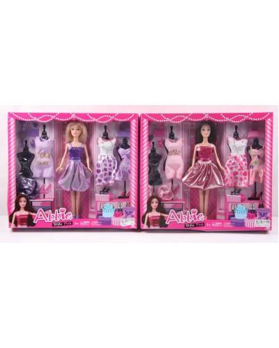 Кукла  B030 2 вида, с одеждой и аксессуарами в кор. 36,5*32,5*5 см