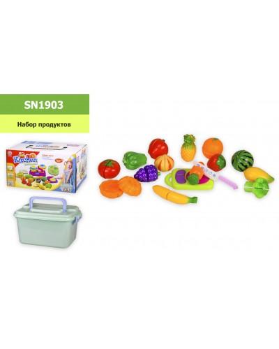 Набор продуктов SN1903 (1909456) на липучках, нож, дощечка, в чемодане, р-р игрушки – 27*17*13.5 см