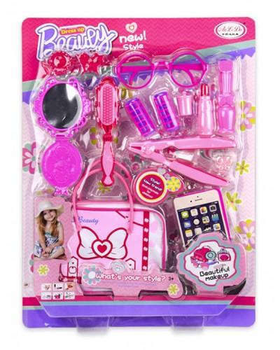 Аксессуары для девочек YBE8823-03 расческа, зеркало, сумка, очки, аксессуары, на планш. 32*43см