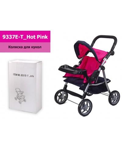 Коляска 9337E-T_Hot Pink розовая с темно-синим, летняя, съемное кресло, столик и корзина