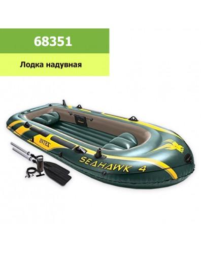 """Лодка 68351 """"Seahawk"""" на 4 чел (до 400кг), рефл. дно, весла 69627, насос 68614, в кор.  295*137*43см"""