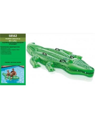 """Надувн. """"Крокодил"""" 58562 винил,с ручками (3+ лет), рем комплект, в кор. 203*114см"""