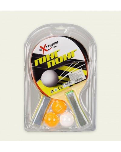 Теннис настольный T2017  2 ракетки, 3 мячика, в слюде 29*19 см