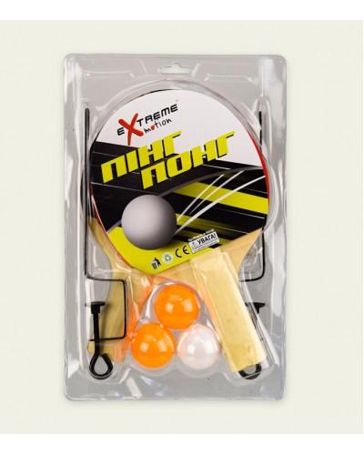 Теннис настольный T2018  2 ракетки, 3 мячика в слюде с сеткой, в слюде 28*18 см