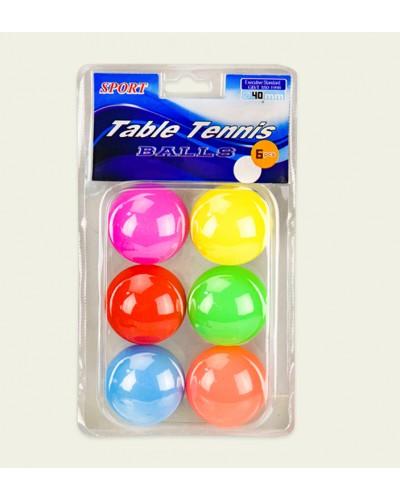 Мячи для настольного тенниса TT2024 MIX 6 цветов, 6 мячей