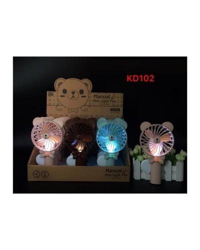Вентилятор ручной KD102 3 цвета, со светом, 12шт в дисплей боксе 33*19*20см /цена за шт/