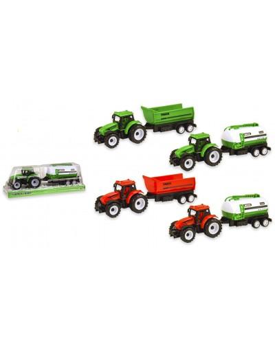 Трактор инерц 9975-5A/9975-7A/9975-1A с прицепом, 4 вида, размер игрушки - 21*5*5,5см