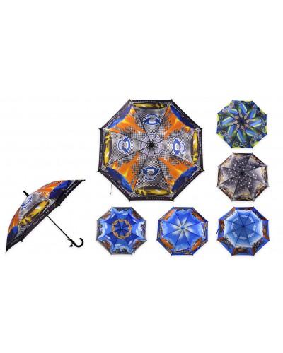 Зонт UM52612 для мальчиков, 6 видов,  р-р трости – 66 см, диаметр в раскрытом виде – 80 см,