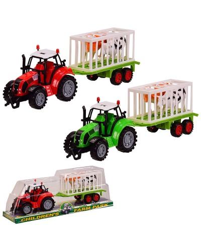 Трактор инерц. FB17-14  2 цвета, с прицепом, животными, под слюдой  37,5*13,5*10см