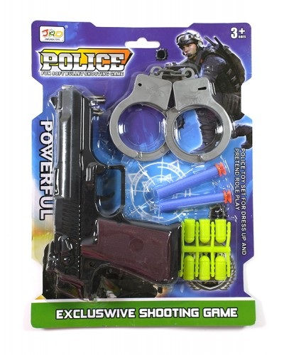 Полицейский набор JRD967-17 пистолет с мягким пулями, на планшетке 26*19см