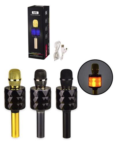 Микрофон караоке M143 юсб зарядка, 3 цвета, в коробке 8,5*8,5*26,5 см, р-р микрофона – 8*8*26 см