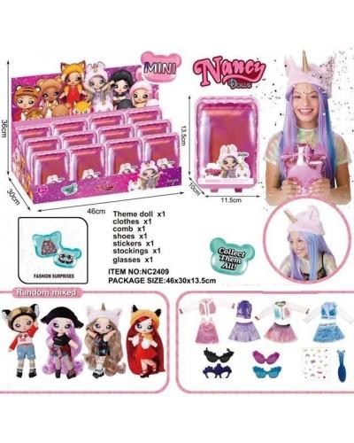 Игровой набор NANCY DOLLS NC2409 кукла с плюш. мехов. шапкой животного, 12 шт в диспл боксе