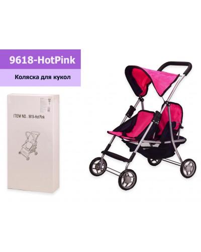 Коляска 9618-Hot pink мет, прогулочная, двойная, спинка регулируется, капюшон, корзина для игрушек