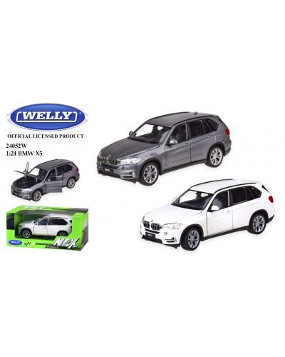 """Машина метал 24052W """"WELLY""""1:24 BMW X5, откр.двери, капот, 2 цвета, в кор.23*11*10 см"""